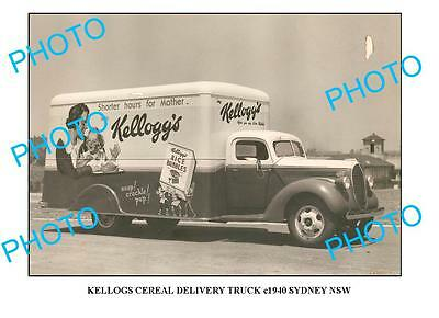 OLD LARGE PHOTO OF KELLOGS CEREAL TRUCK c1940 NSW