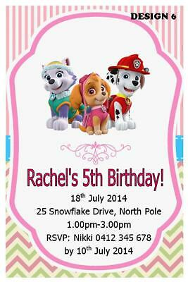 20 X PAW PATROL GIRLS BIRTHDAY PARTY PERSONALISED INVITATIONS FREE MAGNETS