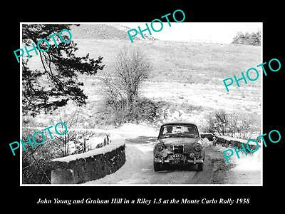 Old Large Historic Photo Of John Young Driving His Riley 1.5, Monte Carlo 1958