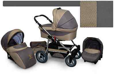 Kinderwagen skyline Active , 3 in 1- Set Wanne Buggy Babyschale 8.BEIGE/BEIGE