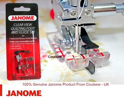 JANOME CLEAR VIEW DITCH QUILTING + 1/4 1/8 FOOT SET GUIDES _ Cat B + C 200449001