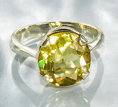 Sterling Silver Traditional Asian Vintage Style Citrine Stone Ring Size P Gift