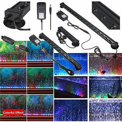 Fish Tank Aquarium LED Bar Lights Underwater Submersible Air Bubble Lamp Color