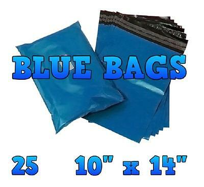 """25 Blue Mailing Bags 10""""x14"""" Postal Plastic Postage Mail Mailers Bags       KF03"""