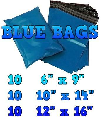 30 Blue Mailing Bags Mixed Sizes Postal Plastic Postage Mail Mailers Bags   KH07