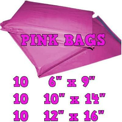 30 Pink Mailing Bags Mixed Sizes Postal Plastic Postage Mail Mailers Bags   KD05