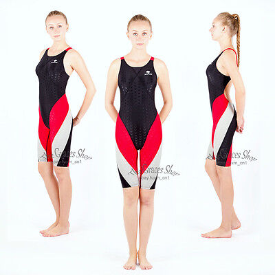 HXBY Girl Lady One Piece Technical Competition Training Knee Swimsuit Swimwear
