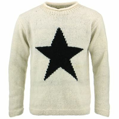 Wool Jumper Star Chunky Knit Knitted Sweater Pullover Rolled Crew Neck Blue
