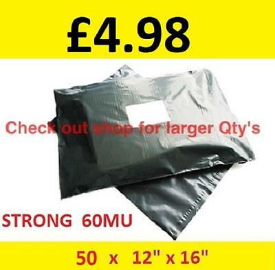 """50 STRONG Mailing Bags 12"""" x 16""""  Extra Large Grey Plastic Postage Postal   AN25"""