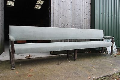 Very Large 11ft upholstered pub / bar / church pew oak bench- worn