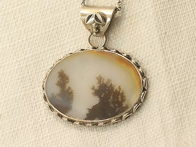 Estate Vintage Sterling Silver Moss Agate Pendant On 925 Necklace Chain