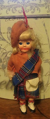vintage celluloid plastic Scottish girl doll kilt
