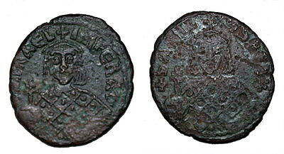 Roma Mater - Michael III, The Drunkard, AE Follis, with Basil I, Rare