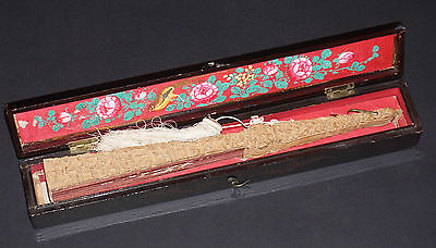 Superb Large Antique Chinese Deep Carved Sandal Wood Hand Embroidered Silk Fan