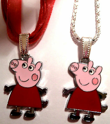 Girls Red Enamel Peppa Pig Girls Necklace In Gift Bag Ideal Party Gift