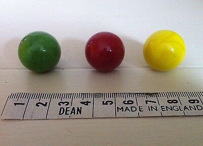 Glass Marbles. Iridescent. Green, Red, Yellow. Collectable.