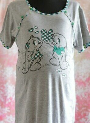 Woman maternity nightdress nightwear with two sides buttons and short sleeve M33