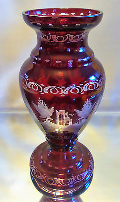 ANTIQUE CZECH EGERMANN OF BOHEMIAN RUBY RED ART GLASS VASE, ca. 8""