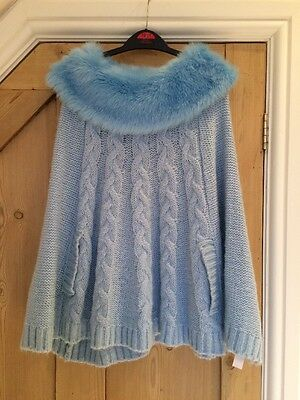 Baby Blue Faux Fur Collar Wool Cape - Age 9 - 10