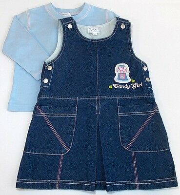 Baby girl denim dress blue top outfit set 12 month bnwts