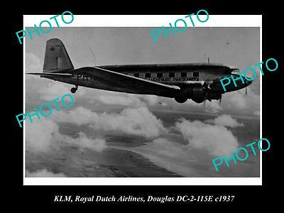 OLD LARGE HISTORIC AVIATION PHOTO OF KLM ROYAL DUTCH AIRLANES DOUGLAS DC-2 c1937