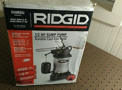 RIDGID 1/2 HP Cast Iron Submersible Sump Pump with Vertical Float Switch 500RSU