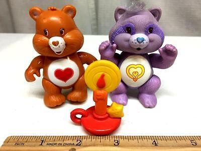 Vintage 1985 CARE BEARS Figures Lot TENDERHEART & Cousin BRIGHT HEART Racoon