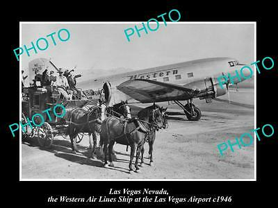 OLD HISTORIC PHOTO OF LAS VEGAS NEVADA, WESTERN AIRLINES PLANE AT AIRPORT c1946
