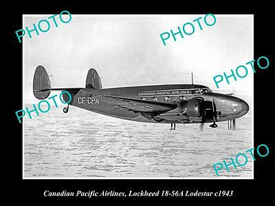 Old Historic Aviation Photo Canadian Pacific Airlines, Lockheed Lodestar 1943