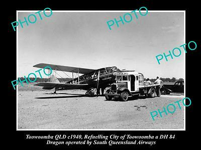 Old Large Historic Photo Of Queensland Airways Plane, Toowoomba Dehavilland 1940