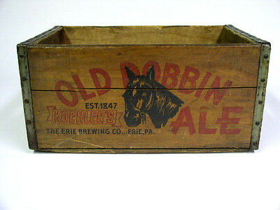 Koehlers Beer Old Dobbin Ale Wooden Advertising Crate, Case Erie Brewing Co. Pa.