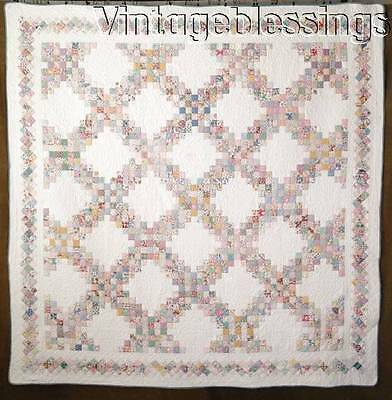 "SHOWSTOPPER Vintage 30s Novelty Feedsack Irish Chain QUILT 80"" x 79"""