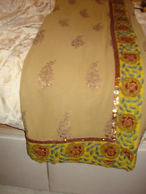 Ladies Indian Saree - Light Brown With Contrasting Embroidered Border