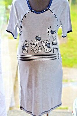 Woman maternity nightdress nightwear with two sides buttons and short sleeve M14
