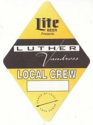 LUTHER VANDROSS PASS backstage tour satin cloth LOCAL CREW collectible