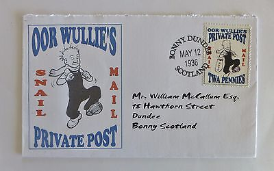 Gerald King OOR WULLIE'S PRIVATE POST SNAIL MAIL Cinderella Cover - RARE