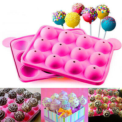 Silicone Cake Cookie Chocolate Lollipop Pop Mold Mould Baking Tray Stick Party F