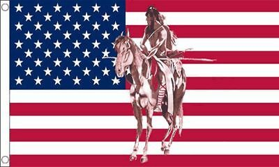NEW 5 x 3 FOOT USA AMERICAN UNITED STATES FLAG INDIAN on HORSE STARS STRIPES