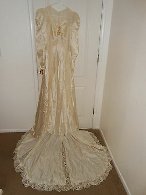 Vintage 1930s Handmade Satin & Lace Wedding Gown Train & Slip* celluloid flowers
