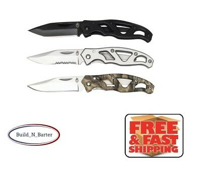 NEW 3 Pack Gerber Stainless Knives Mini Paraframe Pocket Knife Camo Black Silver