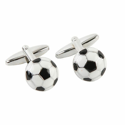 Harvey Makin Men's Rhodium Plated Footballs Cufflinks Gift Ideas for Him Boxed