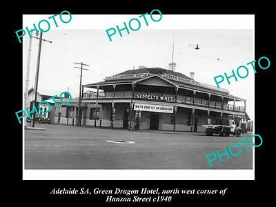 OLD LARGE HISTORICAL PHOTO OF ADELAIDE SA, GREEN DRAGON HOTEL, SOUTH Tce 1940