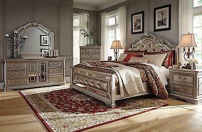 Birlanny Traditional Silver 4 PCS Queen Upholstered Bedroom Set