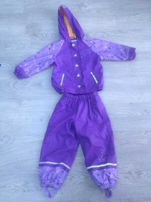 Lovely Waterproof Trousers And Coat Girl Aged 2-4 Years