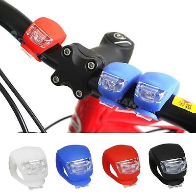 2 Silicone LED Bicycle Bike Cycling Head Front Rear Wheel Clip Safety Light Lamp
