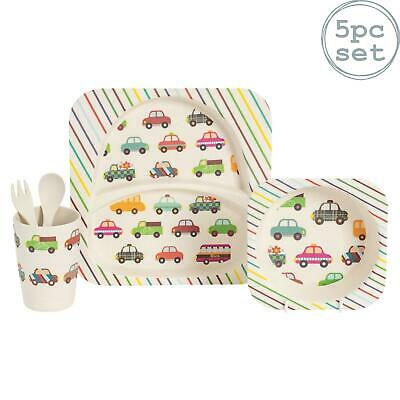 Childrens Bamboo Dining Dinner Meal Set. Plate, Bowl, Cup, Knife & Fork - Cars