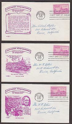 5 FIRST DAY COVERS Pent Arts CACHETS 992 US Capitol Washington Sesquicintennial