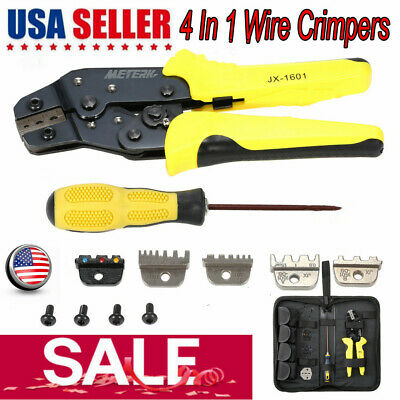 Meterk 4 in 1 Professional Wire Crimper Pliers Ratcheting Terminal Crimping Tool