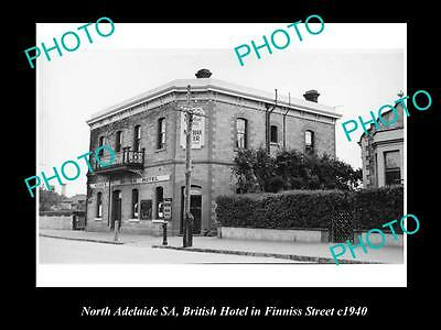 OLD LARGE HISTORICAL PHOTO OF NORTH ADELAIDE SA, BRITISH HOTEL, FINNIS St 1940