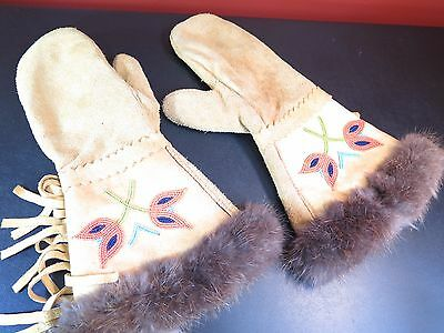 Native American Leather Gauntlets Mittens Hand Beaded Fur Trim